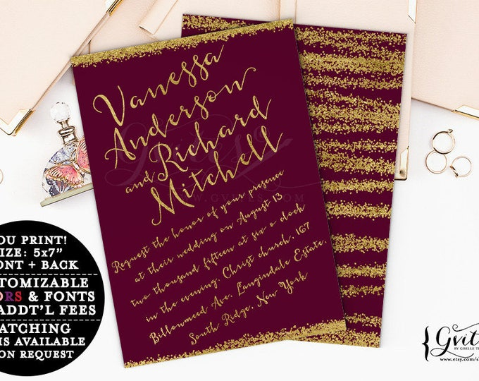 Burgundy and Gold Wedding invitation, glamour, glitz & glam, wine, red and gold printable invites, couture wedding, 5x7 {You Print}