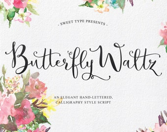 Butterfly Waltz Hand-Lettered Calligraphy Script Commercial Font Download