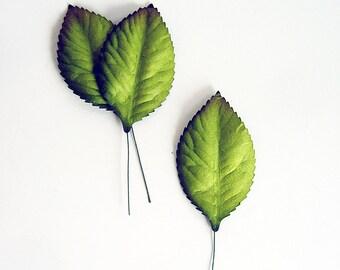 50 pcs - Green big leaves 6 x 4.5 cm