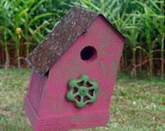 Functional Birdhouse, Outdoor Birdhouse, Outdoor Garden, Rustic Cottage Hot Pink and Green