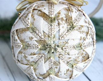 Quilted Ornament Ball-Cream-Gold-Snow Drift