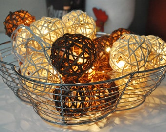 Brown & White Rattan ball string lights for Patio,Wedding,Party and Decoration (20 bulbs)