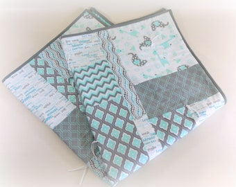 OOAK Crib Quilt, Baby Quilt, Toddler Nap Quilt, Child Lap Quilt in Gray and Sea Green Elephants and Giraffes