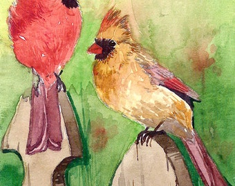 ACEO Limited Edition 1/25 - Cardinal pair in a fence, Cardinal, Bird art print, Collectable art