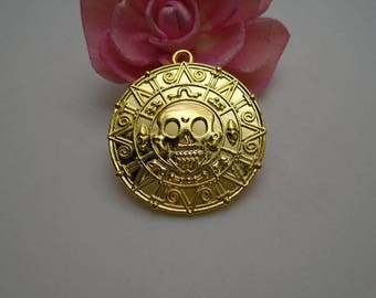 50 pieces 42mmx39mm metal gold color plated aztec gold coin/pirates of the caribbean coin charm/pendant for jewelry