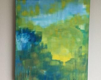 Morning Horizon II, Original Painting by Debby Neal -- Abstract Modern Horizon, Yellow Abstract Original Painting, Modern Landscape Wall Art