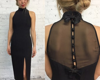 vintage 90s little black cocktail dress / sexy high slit fitted sheath dress / sheer sleeveless party dress