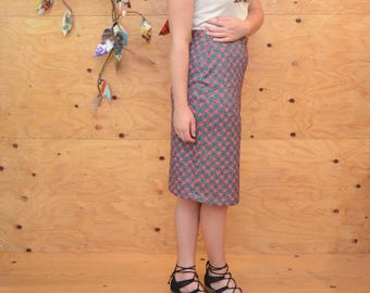 Vintage 60s Boho Floral Striped Pencil Skirt In Lovely Spring Colors Size S