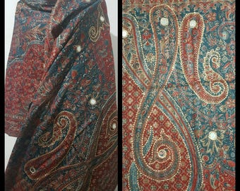 HANDMADE Pure kasmiri wool handmade red/blue scarf/shawl/with paisley and diamonte details high quality LIMITED EDITION scarf/shawl