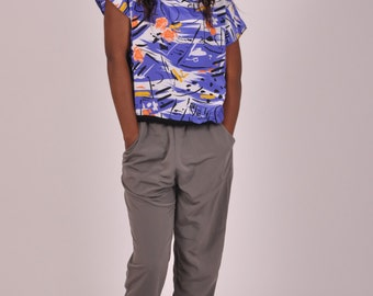 Water impressions // colourful blue 80s vintage top / shirt, short sleeves, nautical