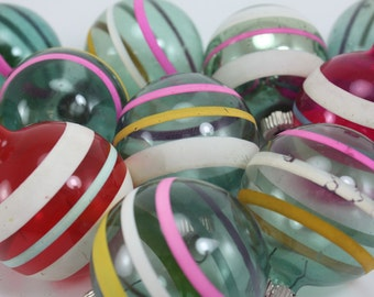 Vintage Christmas Ornaments Shiny Brite WWII Unslivered Striped Glass Christmas Box - Set of 12