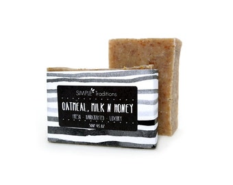 Handcrafted Soap | Homemade Soap | Oatmeal, Milk and Honey | Oatmeal | Exfoliating Vegan Soap | Artisan Soap | Soap for Men | Gift for Her