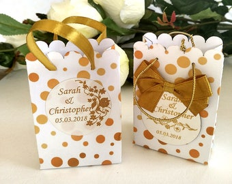 Set of 10 gold paper bags, wedding favors,  favor gift bags, Personalized bags, gold bags, party favor bags, packaging bags, priting bag