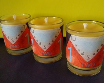 Three 1TWO1 Organic Lemon Pure Beeswax Aromatherapy Candles