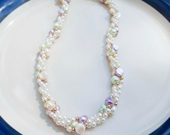 Vintage Faux Pearl Necklace with white and pastel colored Pearls