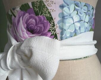chintz obi belt, reversible spring floral obi sash belt, waist cincher violet blue green , white print cotton hydrangea obi