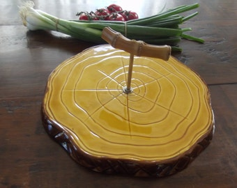 Vallauris France, cheese tray, cheese board, apetizer platter, cheese plate, ceramic 1960s