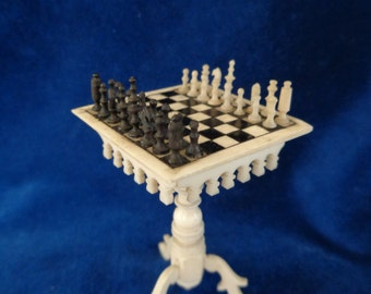 Antique dollhouse chess table with tiny chess figures 19th century for antique dollhouse