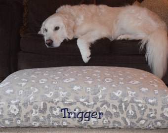 Watson Dog Bed * Animal Print * Neutral Chenille Fabric * Small * Embroider Your Pups Names * Custom Pillow Cover * TSD