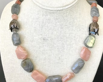 Labradorite and Peach Moonstone Necklace   Mothers Day Gift, Birthday Gift, Gift for Mom, Gift for Her, Gray Necklace, Mother of the Bride