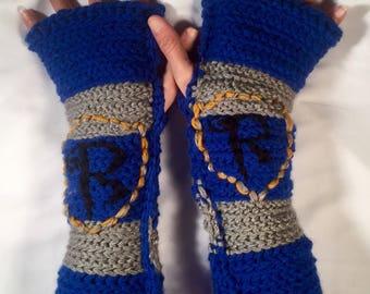 Ravenclaw Hogwarts House Specialty Fingerless Gloves / Harry Potter / Luna Lovegood / Cho Chang / geek winter wear / men / women / Cosplay