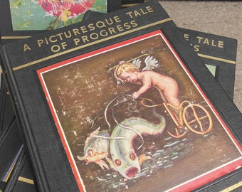 A Picturesque Tale of Progress 1935 Ed. - Antique Children's History Reference Book Set