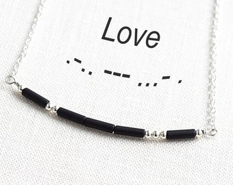 Mothers Day Gift Idea Custom Morse Code Necklace Tiny LOVE Necklace Minimal Message Necklace Necklace Dainty Sterling Boyfriend gift for him