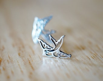 925 Silver Swallow Stud Earrings ,bird Stud Earrings,sterling Silver Stud, Little Bird Stud Earring, Bird Post,cute Tiny Bird Studs TSAM001