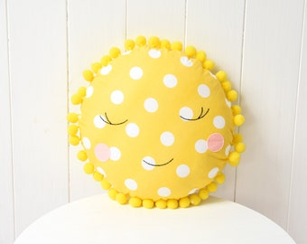 Sun Pillow Kids Room Decor Nursery Decor Girl Yellow Pillow Baby Pillow Baby boy Nursery Sun and moon Baby Shower Gift Decorative Pillow