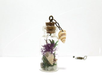Mini Terrarium Necklace, Beach Theme Necklace