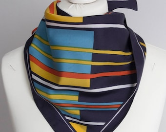 "vintage Square scarf, polyester scarf, fabric women scarf shawl 66cm / 26"" geometric scarf striped scarf navy blue yellow red"