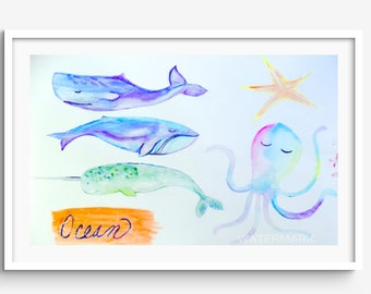 Pastel Whale Ocean Animals Illustration Watercolor Print