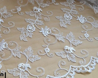 Corded  floral Lace Fabric,off white wedding lace fabric,Wedding lace