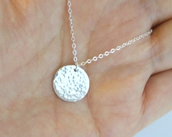 Long Sterling Silver Hammered Necklace, Layering Necklace, everyday, gift
