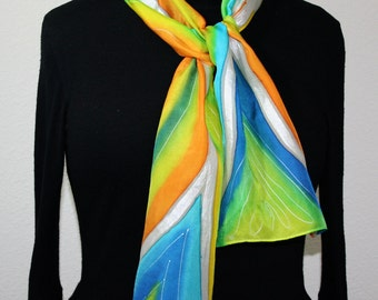 Multicolored Hand Painted Silk Scarf. Lime, Turquoise, Orange Handmade Silk Scarf SUNSHINY MOOD. Size 8x54. Birthday Gift, Bridesmaid Gift