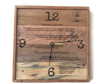 Wedding Vows Framed, Wedding Gift,  laser engraved wedding vows, anniversary clock, pallet wood wedding vows, wall clock, pallet clock