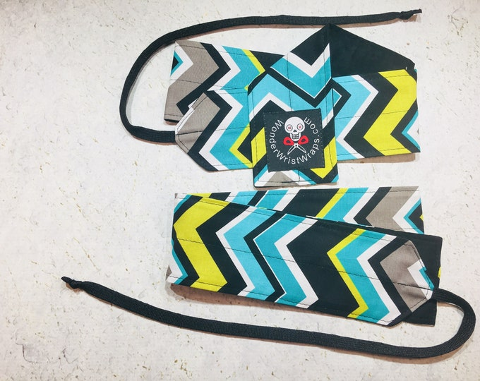 Turquoise Grey Cartreuse Chevron, Wrist Wrap, WOD, Weightlifting, Athletic