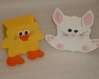 Bunny Rabbit and Chick Duck Favor Box for Baby Showers, Easter, Birthday Parties