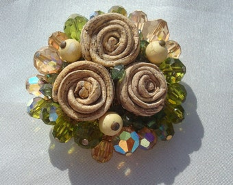 Vintage Vendome AS IS Damaged Swarovski Crystal Clay Roses Brooch Pin Destash Assemblage Piece
