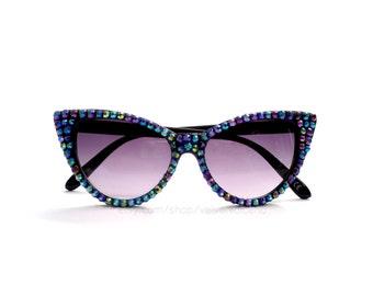 PEACOCK Sparkly Black Cat Eye Sunglasses, Rockabilly Sunglasses, Crystal Sunglasses, Retro Sunglasses, Vintage 50s Glasses, Bling Sunglasses