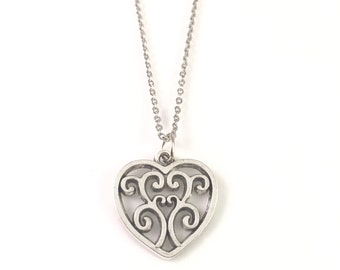 Heart Necklace, Silver Heart Necklace, charm necklace, Heart Jewelry, Heart Pendant, Heart Jewelry, Charm Necklace, For Mother, For Her