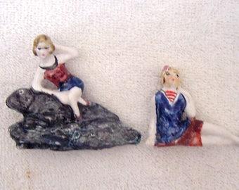 Pair of Bathing Beauty Sisters Figurines