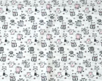 Small cats fabric, 100 cotton fabric, wide fabric, apparel fabric, shirting fabric, kids fabric, quilting fabric, woven fabric, decorations