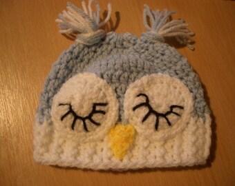 Crochet Pale Blue Sleepy Owl Baby  Beanie/Hat 0-12months