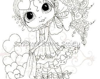 DESCARGA instantánea Digital Digi sellos Valantina violeta Besties ojo grande Big Head muñecas Digi por Sherri Baldy