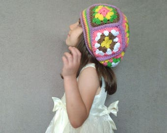 Crochet Beanie Child Size (5-10yrs), vintage style, granny square hat, kids hat, crochet beanie