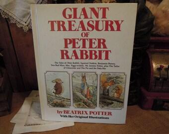 Giant Treasury of Peter Rabbit by Beatrix Potter / Original Illustrations 1980 Hc / Vintage Childrens Book