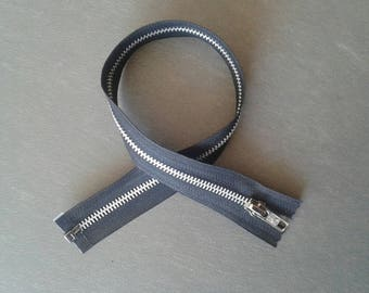 Zipper closure 40 cm black metal separable