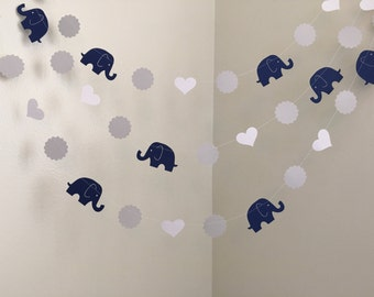 Navy and Gray Elephant Baby Shower Decorations Elephant Garland Elephant Nursery Decoration Elephant Birthday Decoration Custom Colors 10ft