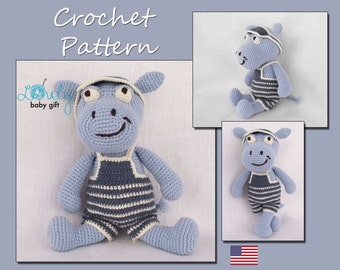 Amigurumi Crochet Pattern, Hippo Crochet Pattern, Animal Crochet Pattern, CP-114
